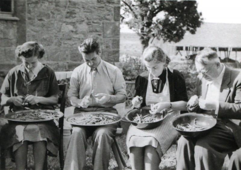 Lehrer helfen beim Bohnenschnippeln 1948