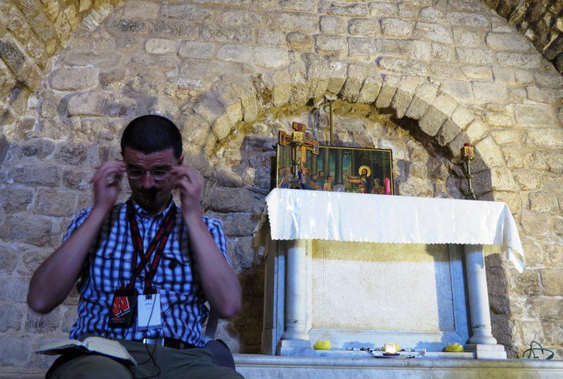 Prof. Eisele in der Synagogenkirche in Nazareth