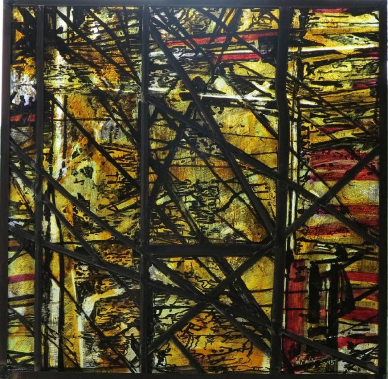 Grohs, Günter o.T., 2015 Glasmalerei auf Echt-Antikglas, Bleiverglasung, Glasmalerei Peters, Paderborn