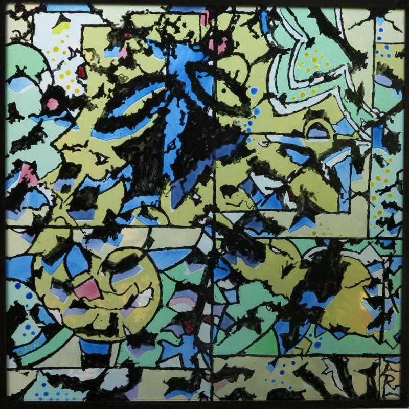 """Riebesel, Annegret  """"Ausblick"""", 2014,  bemaltes Echt-Antikglas, Ausführung: eigenhändig in Zusammenarbeit mit der Glasmalerei Peters, Paderborn"""