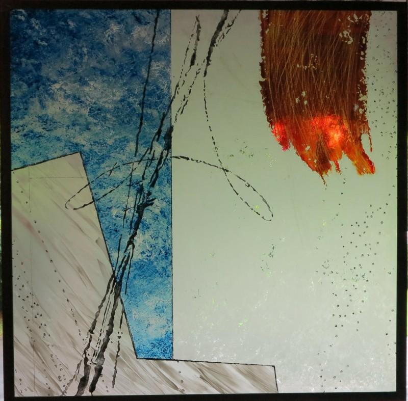 Drewer, Jürgen, o.T. 2015 Floatglas, sandgestrahlt, Malerei mit Schwarzlot, Silbergelb, pigmentierte Farben, Derix Glasstudios