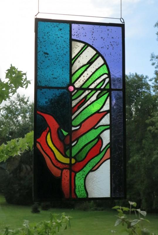 """Siemsen, Burkhard """"Dornbusch"""" 2009 verbleites Glasbild mit partieller Strukturwischung, Glasmalerei Derix, D´dorf-Kaiserswerth"""