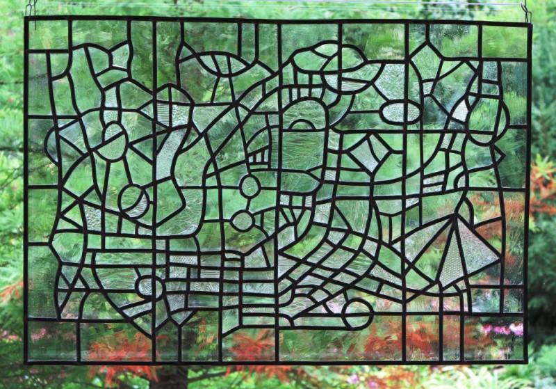 """Riebesel,Annegret """"Im Wintergaarten"""" 2012 Strukturglas, Echt-Antikglas, Bleiverglasung, Ausführung: Annegret Riebesel"""