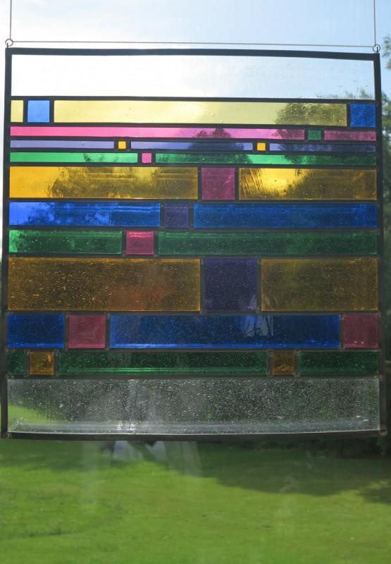 """Riebesel, Annegret,""""Bis zum Horizont"""" 2010 Farbiges Echt-Antikglas, Bleiverglasung, Ausführung: Annegret Riebesel"""