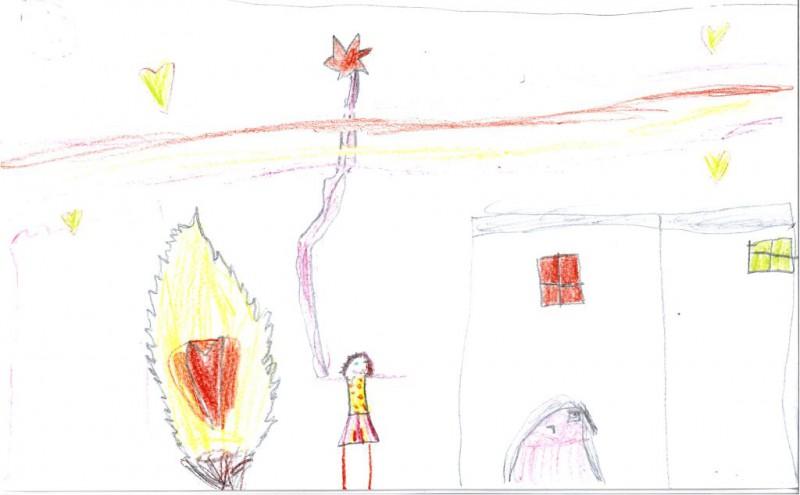 Verarbeitung des Osterfeuers 2016 im Bild von Katharina (7 Jahre); man beachte das Herz im Feuer (vgl. Ex 3)