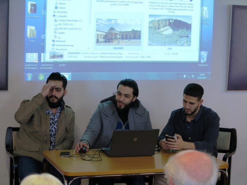 Vorstellung der Ergebnisse der Schreibwerkstatt mit Bildern aus dem weitgehend zerstörten Syrien