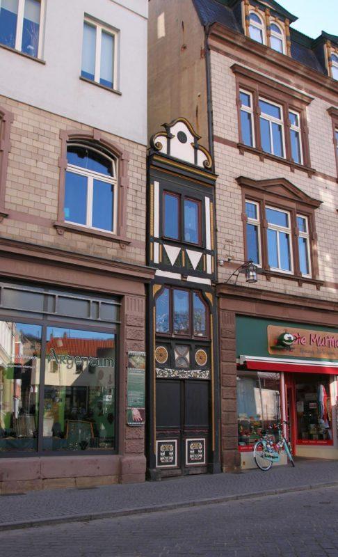 Das schmalste Haus in Eisenach wird noch bewohnt.
