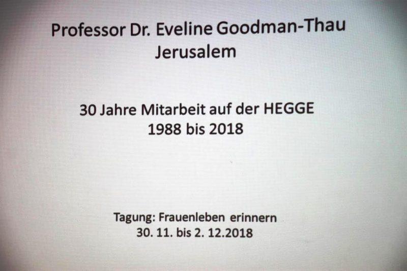 Rückblick und Ehrung für Frau Prof. Dr. Goodman-Thau
